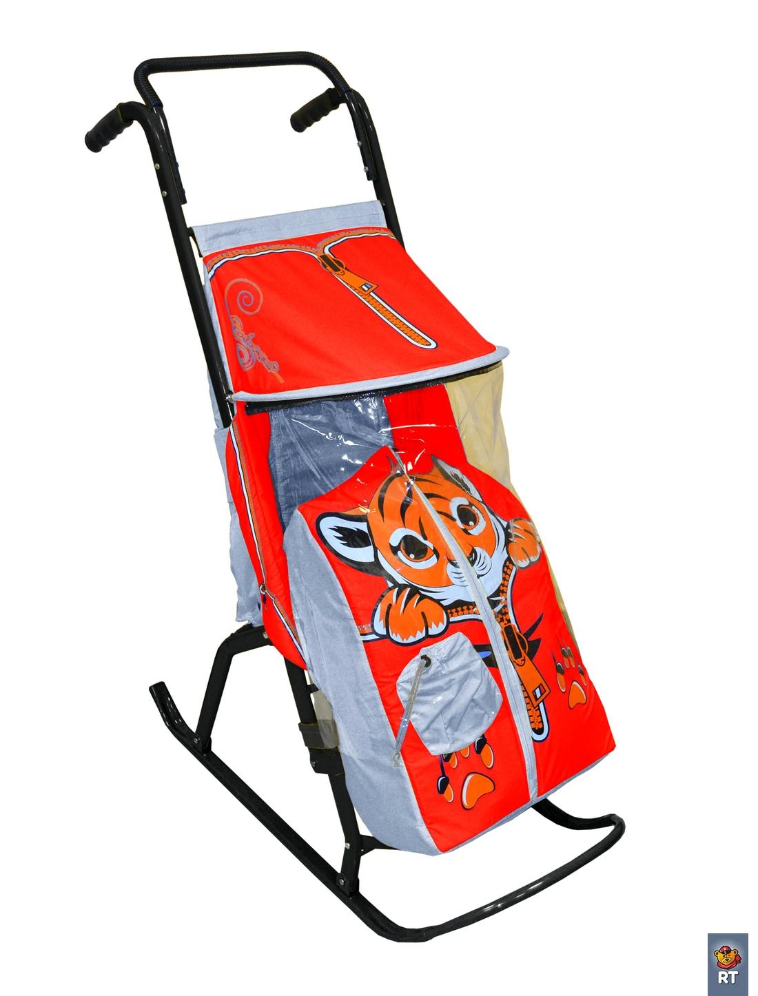 Купить Санки-коляска Снегурочка-2-Р Тигренок, цвет серый, красный, RT