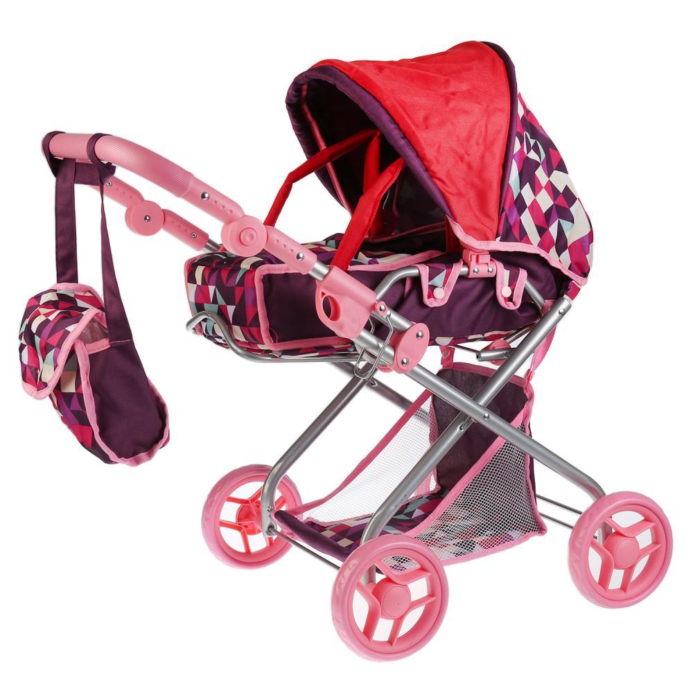 Купить Коляска для кукол, резиновые колеса 14 см, металлическая рама, корзина, сумка, переноска, Карапуз