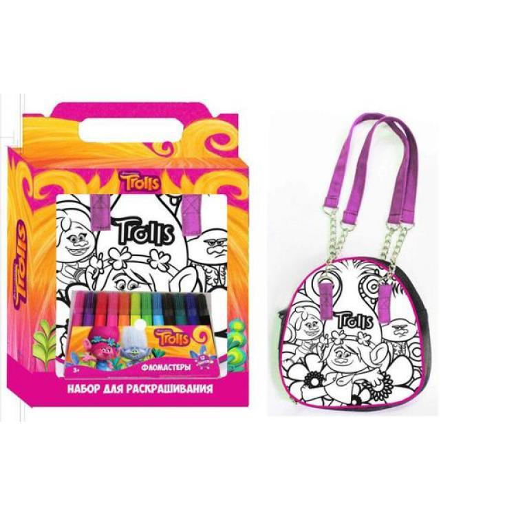 Набор для творчества Тролли  Раскрась сумку - Сумки и рюкзачки Simba Color Me mine, артикул: 158145