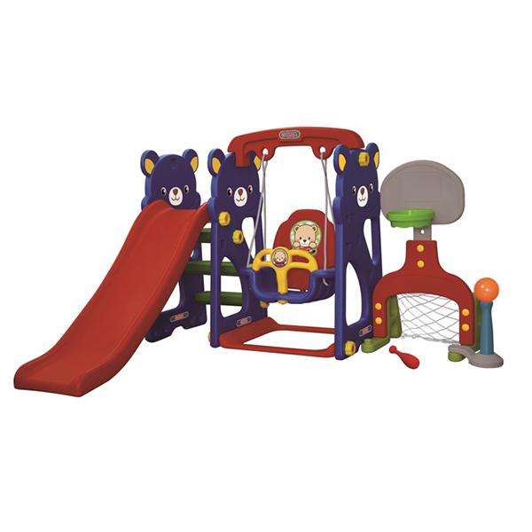 Купить Игровая зона Мишка с качелями с музыкальной панелью, горкой, футбольными воротами и баскетбольным кольцом, Gona Toys