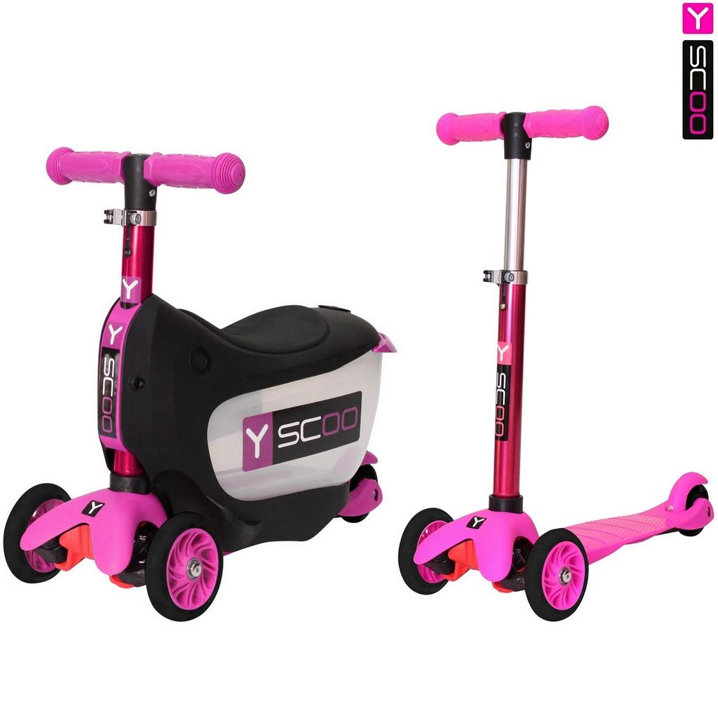 Каталка-самокат 3 в 1 Y-Scoo Mini Jump&amp;Go, розовыйТрехколесные самокаты<br>Каталка-самокат 3 в 1 Y-Scoo Mini Jump&amp;Go, розовый<br>