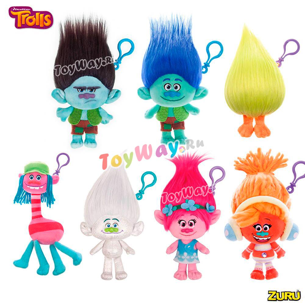 Мягконабивная фигурка Trolls, на брелоке в наборе с расческой и карабином в подарок - Тролли игрушки, артикул: 144714