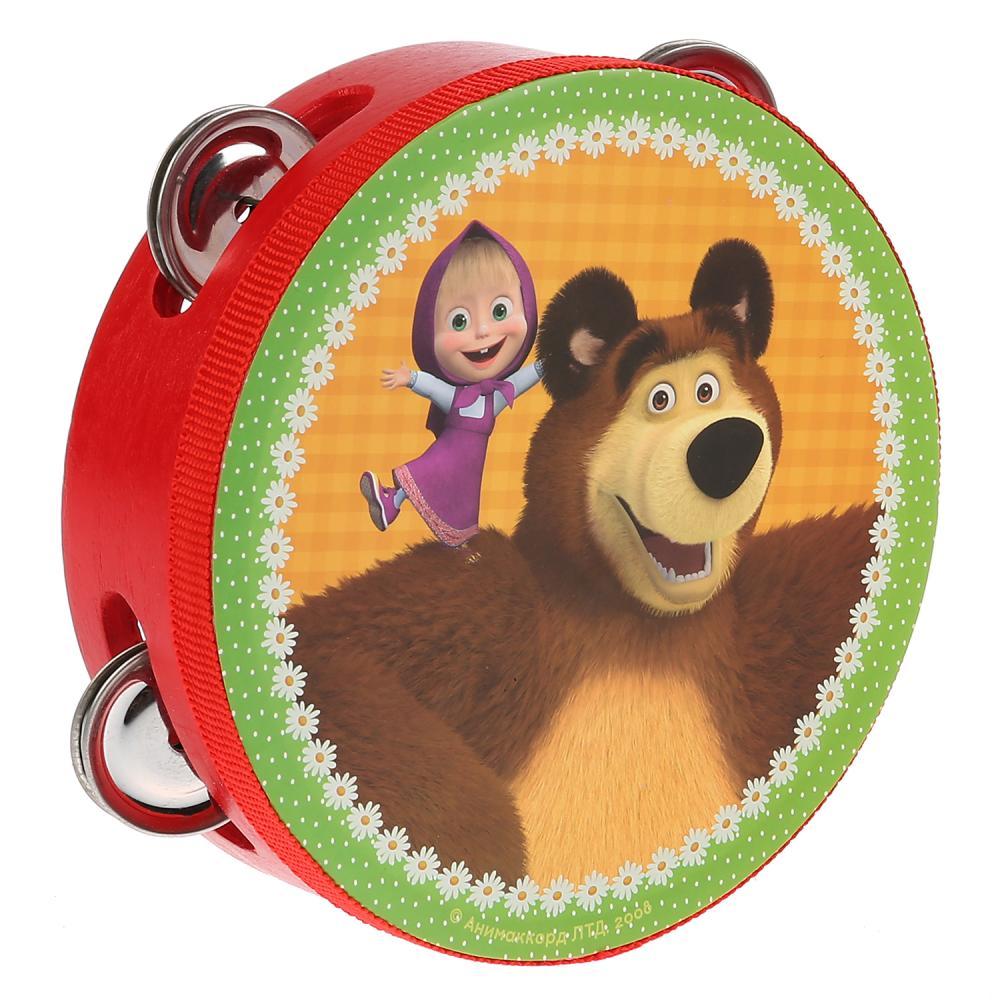 Купить Бубен деревянный - Маша и Медведь, Играем вместе