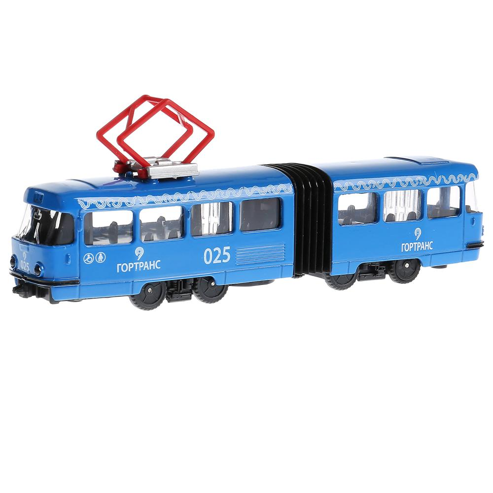 Купить Трамвай с гармошкой 19 см, открываются двери, инерционный механизм, свет и звук, Технопарк