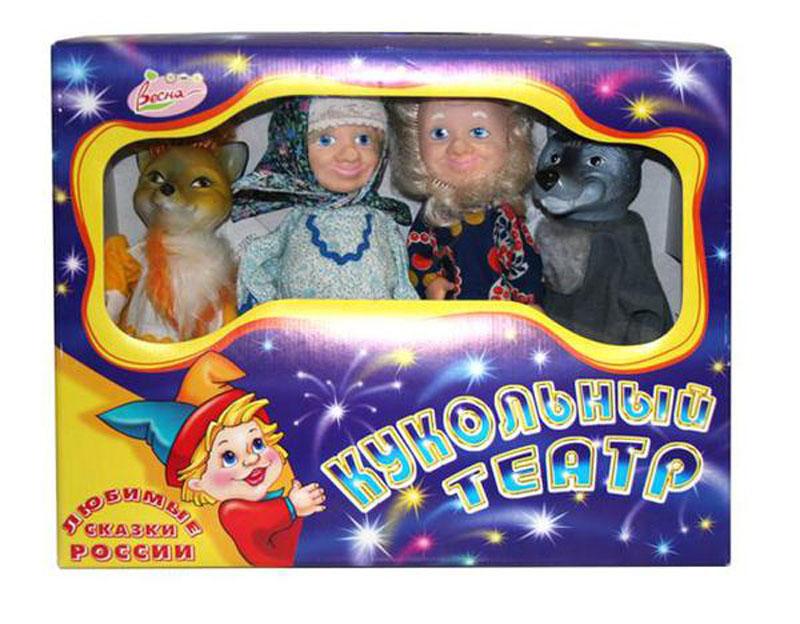 Весна Кукольный театр, 4 персонажа: Дед, Бабка, Курочка, Медведь. + сценарий к сказкам, ширма