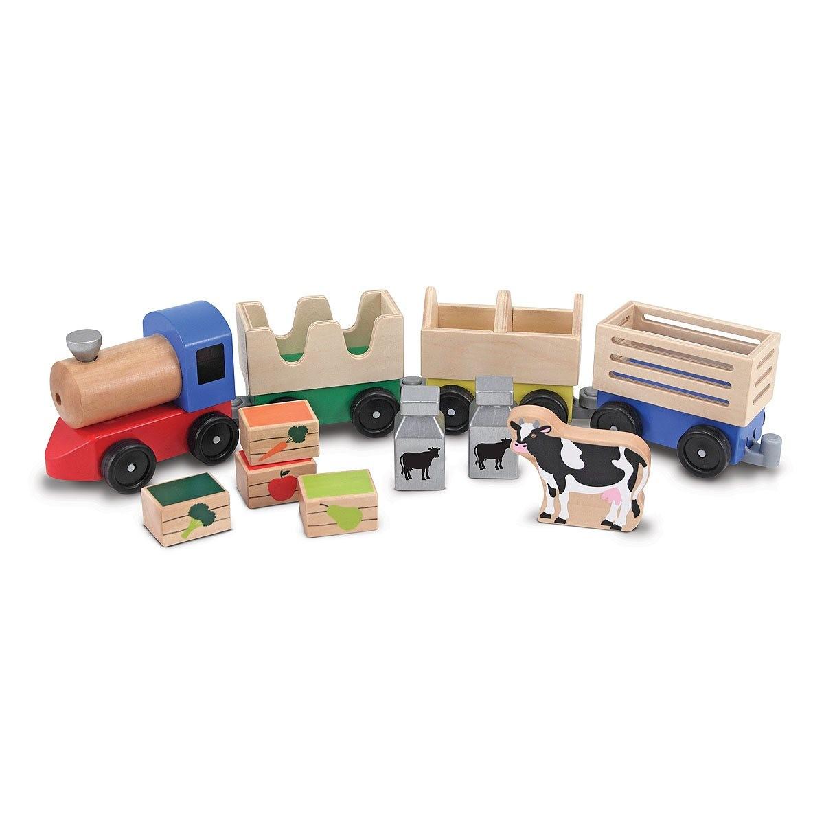 Деревянный фермерский поезд из серии  Классические игрушки  - Игровые наборы Зоопарк, Ферма, артикул: 138971