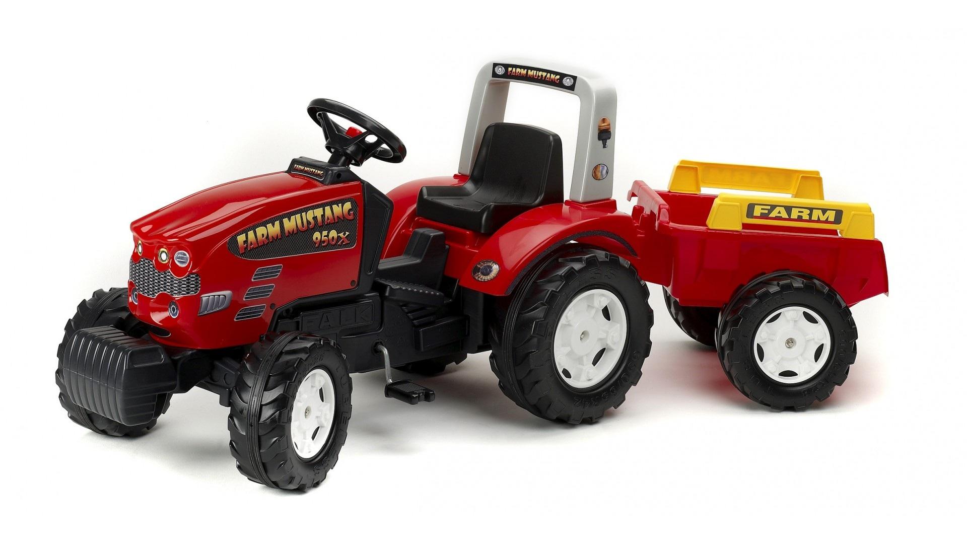 Трактор педальный с прицепом красный, 180 см., FALK, 1070BПедальные машины и трактора<br>Трактор педальный с прицепом красный, 180 см., FALK, 1070B<br>