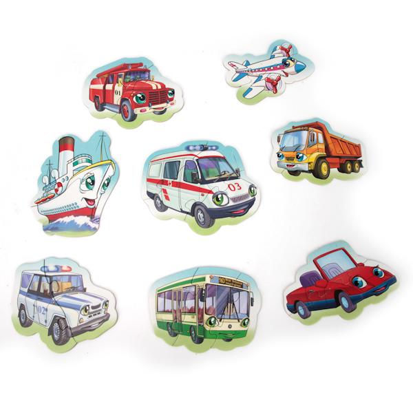 Макси-пазлы – Машинки, 8 развивающих картинокПазлы для малышей<br>Макси-пазлы – Машинки, 8 развивающих картинок<br>