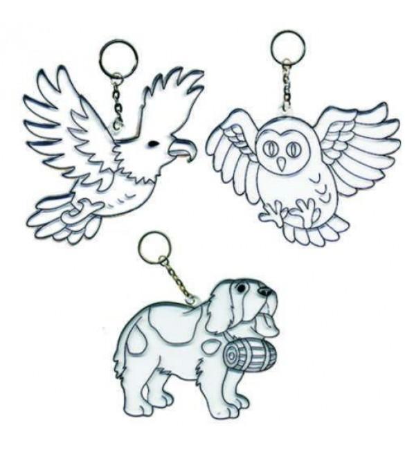Витражи-Брелоки, 3 шт: собака, сова, орелВитраж<br>Витражи-Брелоки, 3 шт: собака, сова, орел<br>