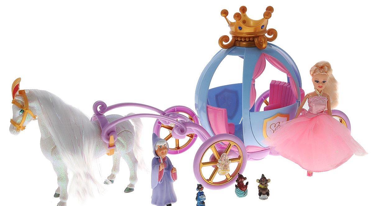 Купить Игровой набор Лошадь с каретой и 2 куклами, JUNFA TOYS