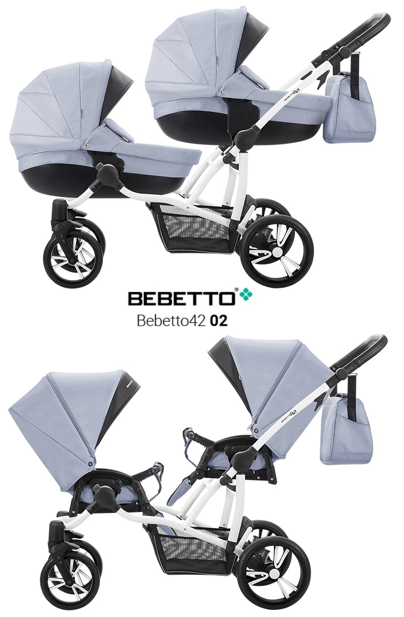 Купить Детская коляска Bebetto42 2017 для двойни 2 в 1, светло-голубая с черным, шасси белая/Bia