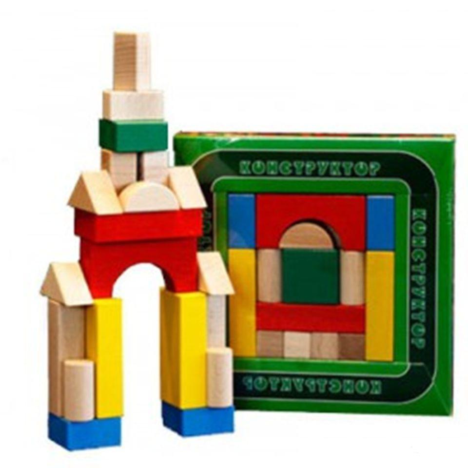 Конструктор деревянный цветной, 20 деталейДеревянный конструктор<br>Конструктор деревянный цветной, 20 деталей<br>