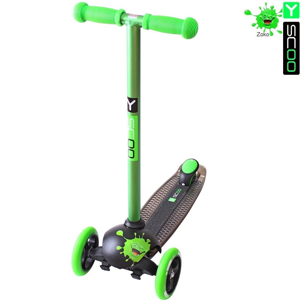 Купить Самокат трехколесный Y-Scoo RT Trio Diamond 120 Monsters, 1 высота, с блокировкой колес, цвет Zoko зеленый