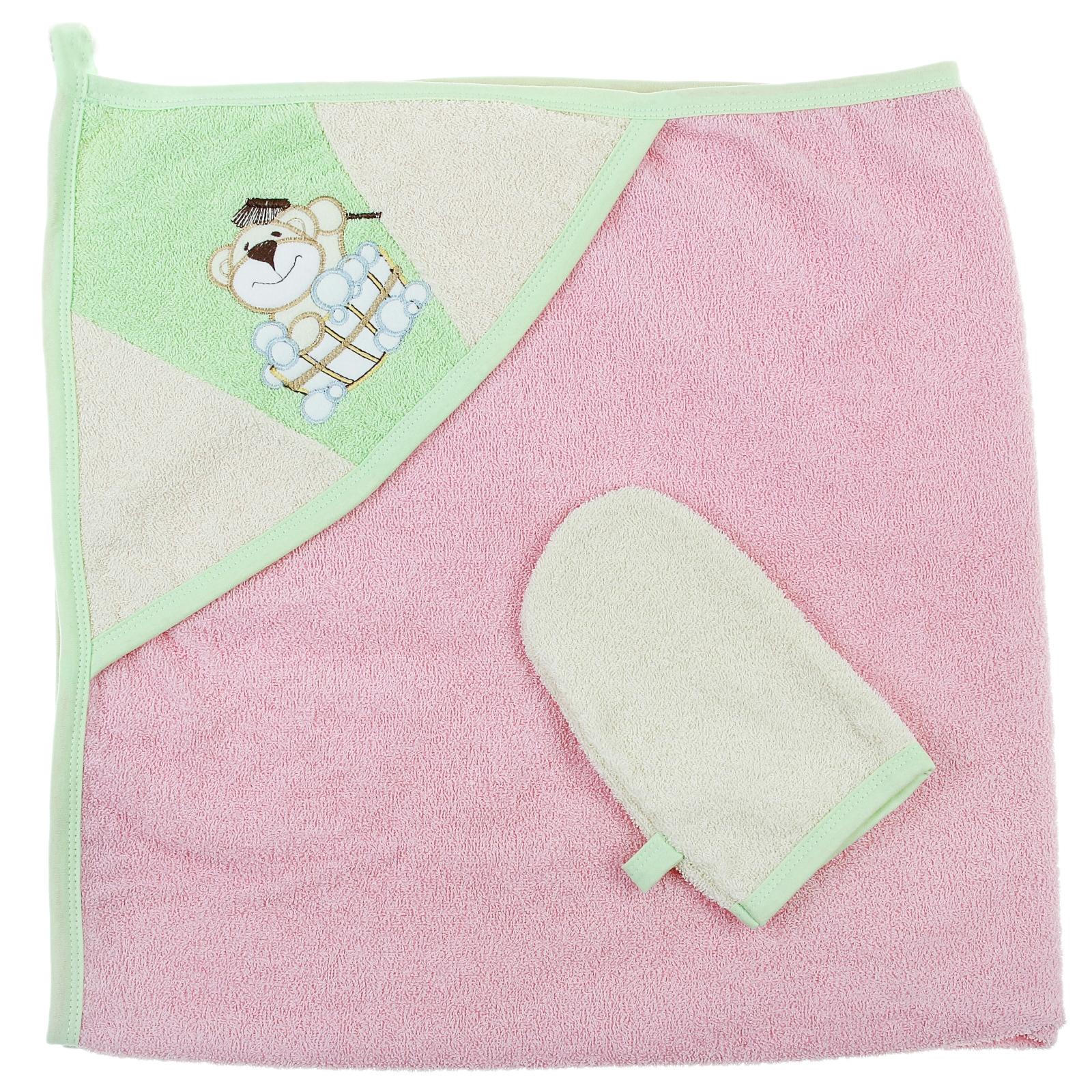 Пеленка-полотенце с варежкой - Забавный мишка, розовыйполотенца и халаты<br>Пеленка-полотенце с варежкой - Забавный мишка, розовый<br>