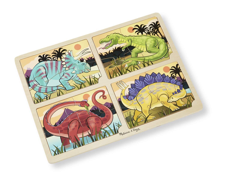 Купить Пазл 4 в 1 – Динозавры, 16 деталей, Melissa&Doug