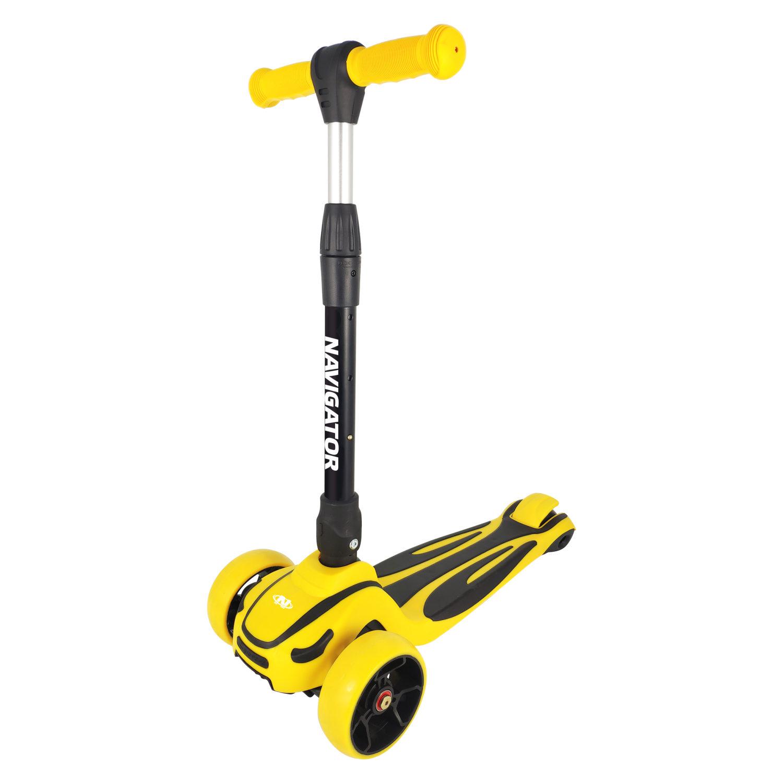 Самокат Navigator 3-колесный желтый, складной, управление наклоном, PU светящиеся колеса 2х120мм/80мм, алюминий, регулируемый руль