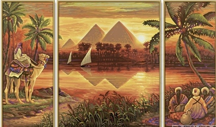 Раскраска Триптих ПирамидыРаскраски по номерам Schipper<br>Раскраска Триптих Пирамиды<br>