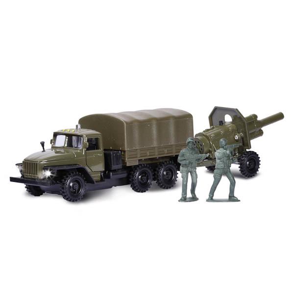 Купить Машина металлическая инерционная Урал Военный, с пушкой на прицепе и фигурками, Технопарк