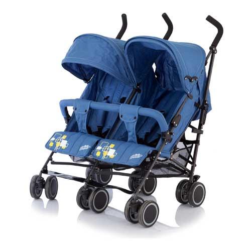 Коляска для двойни City Twin, трость, blueДетские коляски Capella Jetem, Baby Care<br>Коляска для двойни City Twin, трость, blue<br>