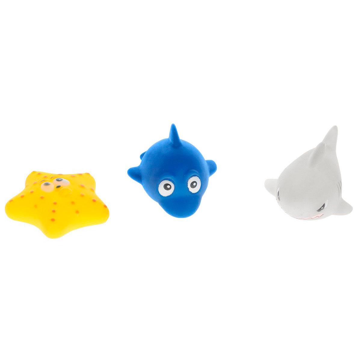 Веселое купание. Набор резиновых морских обитателей для ванной, 3 предметаРезиновые игрушки<br>Веселое купание. Набор резиновых морских обитателей для ванной, 3 предмета<br>