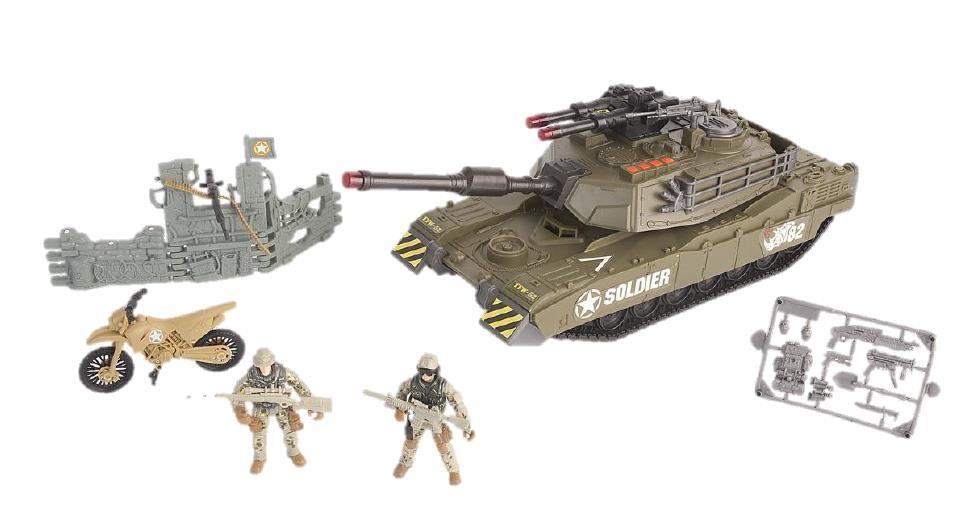 Игровой набор - танковый прорыв с 2 фигурками, звук, свет, стреляет ракетамиВоенная техника<br>Игровой набор - танковый прорыв с 2 фигурками, звук, свет, стреляет ракетами<br>