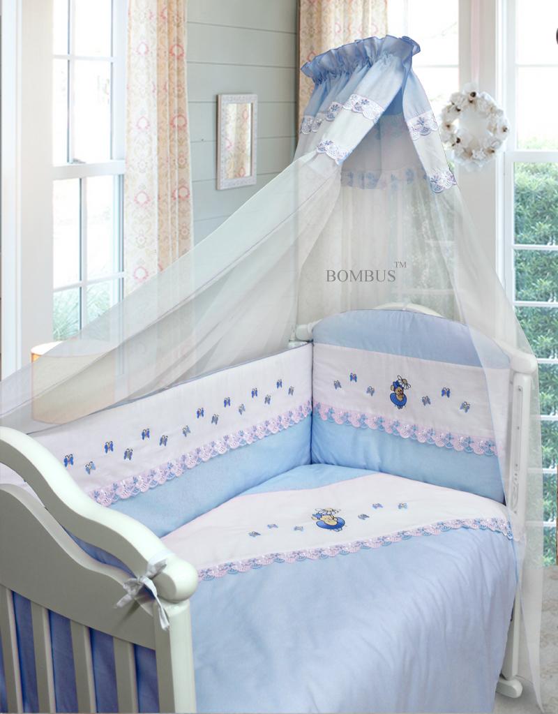 Комплект в кроватку - Ксюша, 7 предметов, голубойДетское постельное белье<br>Комплект в кроватку - Ксюша, 7 предметов, голубой<br>