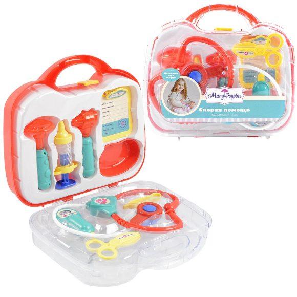 Купить Медицинский набор в чемоданчике - Скорая помощь, 9 предметов, изумруд, свет и звук, Mary Poppins