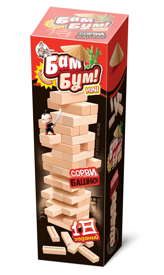 Купить Игра настольная для взрослых и детей Бам-Бум Мини. Падающая башня с фантами, Десятое королевство