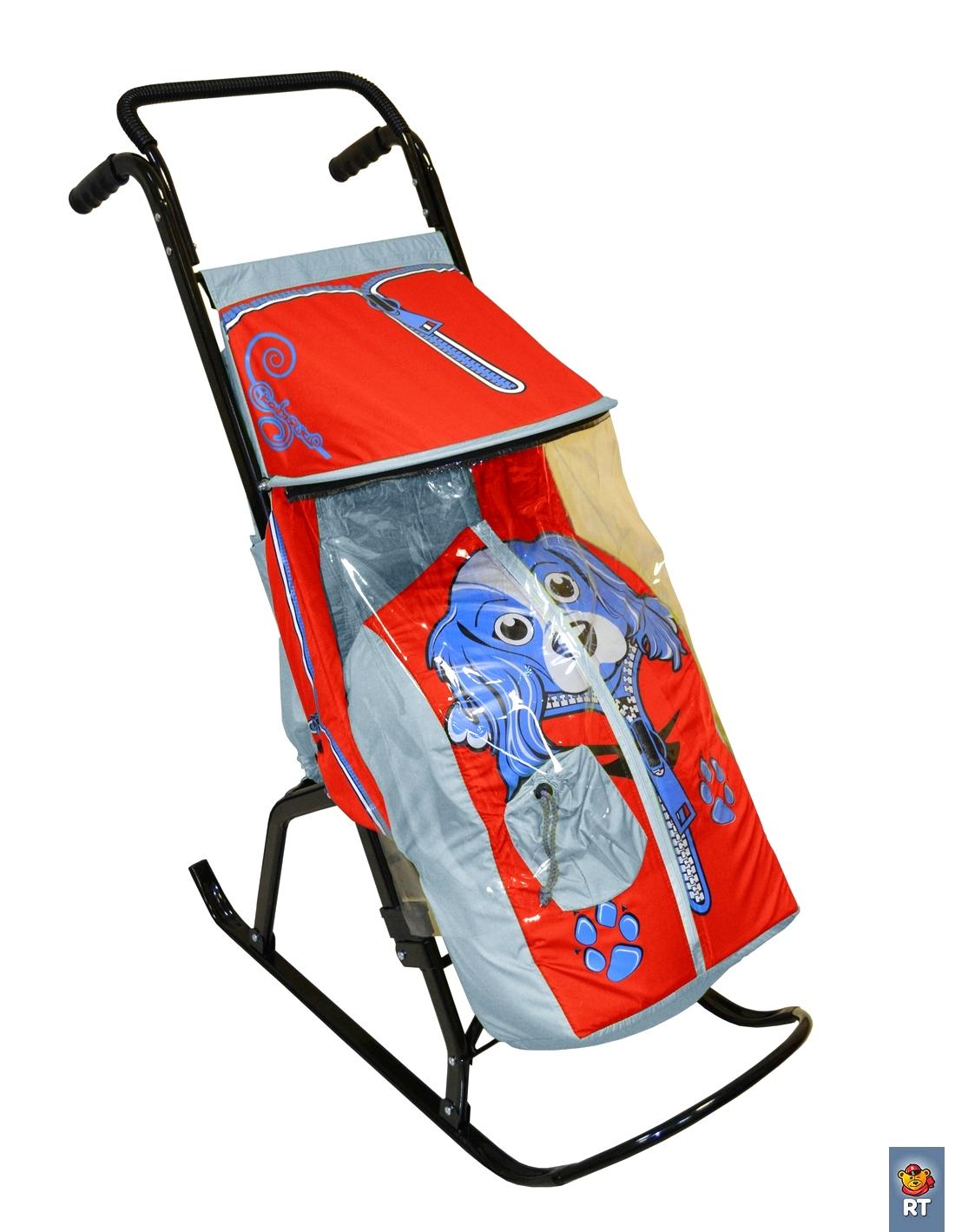 Санки-коляска Снегурочка 2-Р Собачка, цвет – серый, красныйСанки и сани-коляски<br>Санки-коляска Снегурочка 2-Р Собачка, цвет – серый, красный<br>