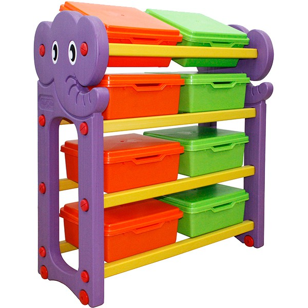 Стеллаж для хранения игрушек с крышками, 4 секцииКорзины для игрушек<br>Стеллаж для хранения игрушек с крышками, 4 секции<br>