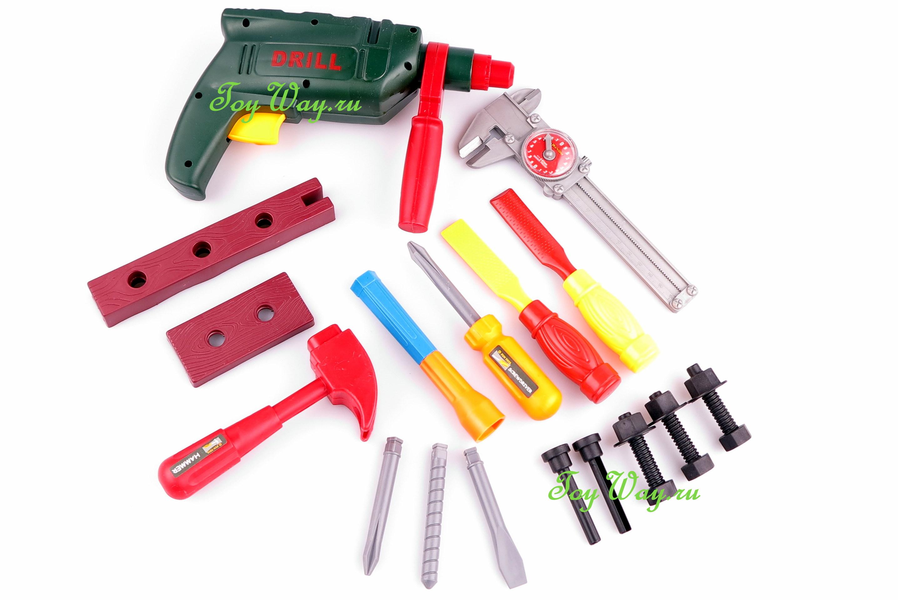 Игрушечный набор инструментов в чемодане, 20 предметовДетские мастерские, инструменты<br>Игрушечный набор инструментов в чемодане, 20 предметов<br>