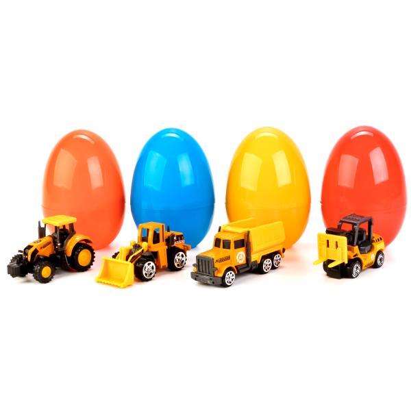 Машина металлическая Строительная техника, 7,5 см., в пластиковом яйце, несколько цветов и моделейМашинки-сюрпризы в яйце<br>Машина металлическая Строительная техника, 7,5 см., в пластиковом яйце, несколько цветов и моделей<br>