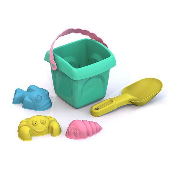 Купить Игровой набор для песочницы №4 – Лето: ведро большое, совок большой и 3 формочки, Шкода