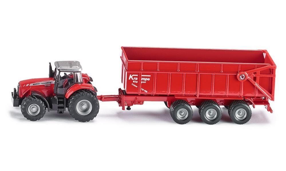 Купить Игрушечная модель - Трактор Массей Фергюсон с прицепом-кузовом, красный, 1:87, Siku