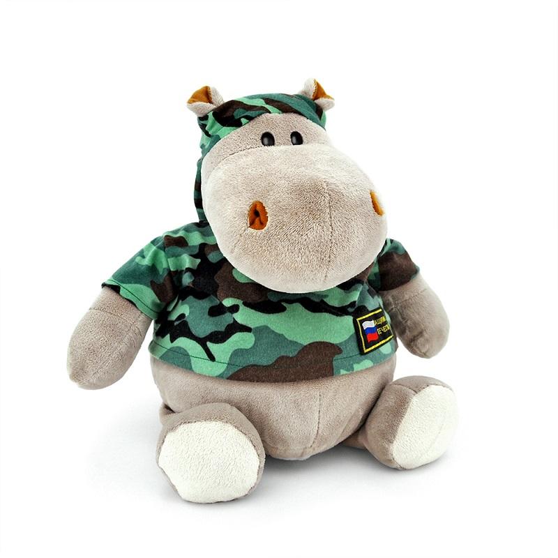 Мягкая игрушка - Бегемот Военный, 30 см.Дикие животные<br>Мягкая игрушка - Бегемот Военный, 30 см.<br>
