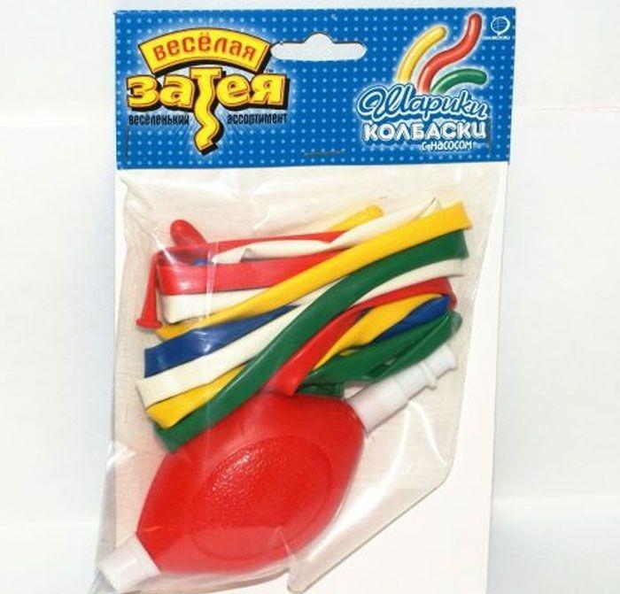 Набор шаров для моделирования с насосом, 10 шт.Воздушные шары<br>Набор шаров для моделирования с насосом, 10 шт.<br>