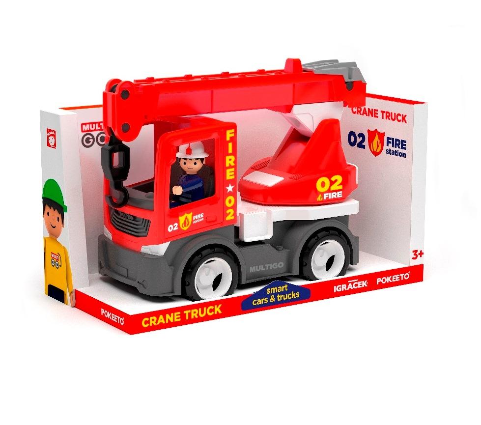 Пожарный грузовик с краном и водителем, 22 см фото