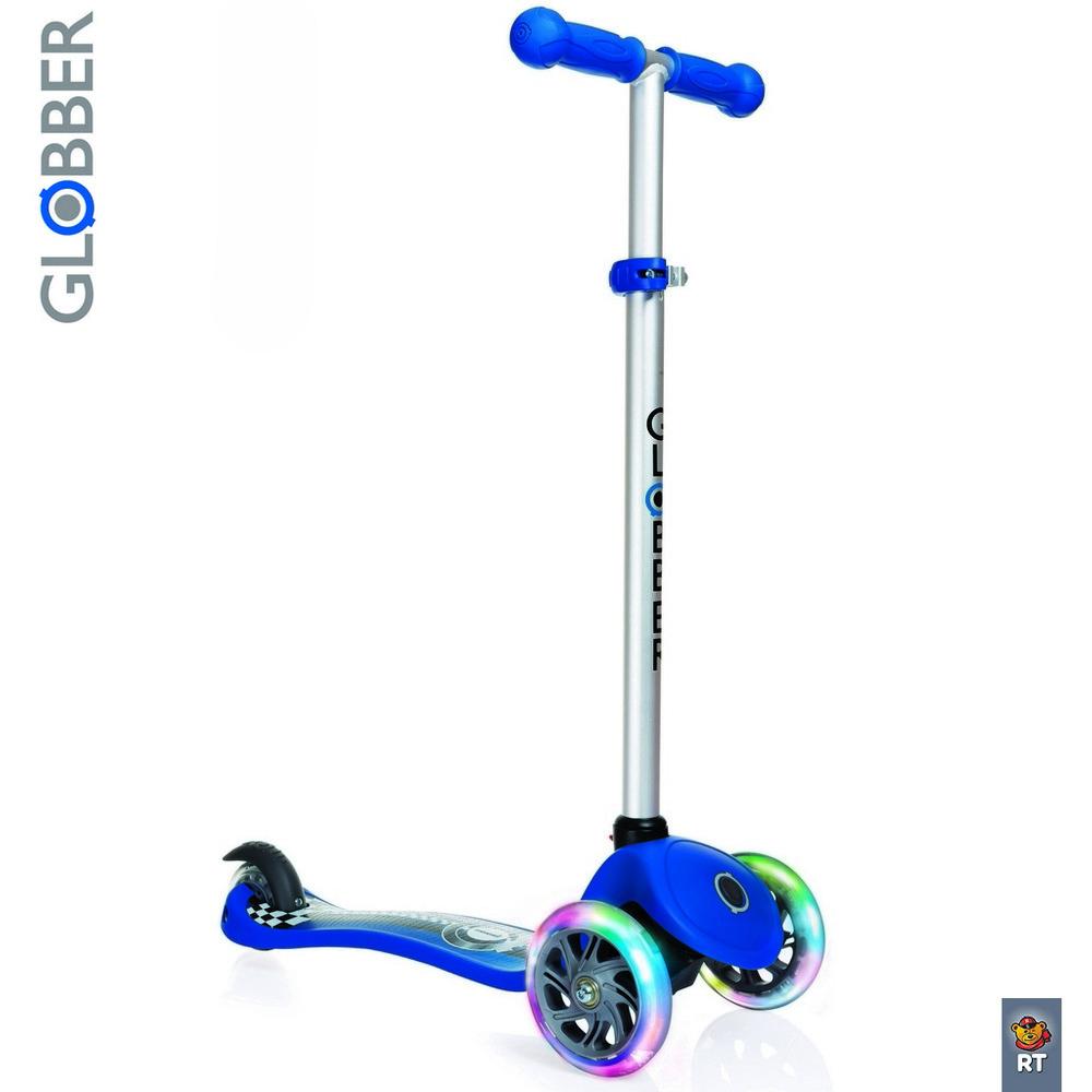 Купить Самокат Y-SCOO Globber Primo Fantasy с 3 светящимися колесами Racing Navy Blue