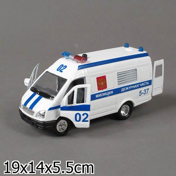 Инерционная металлическая машина Газель Полиция свет, звук 1:43Газель<br>Инерционная металлическая машина Газель Полиция свет, звук 1:43<br>