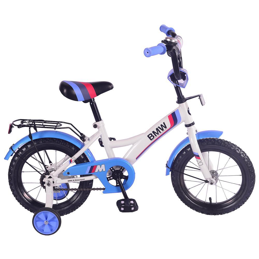 Купить Детский велосипед – BMW, колеса 14 дюйм, GW-тип, багажник страховочные колеса, звонок, бело-синий, Mustang
