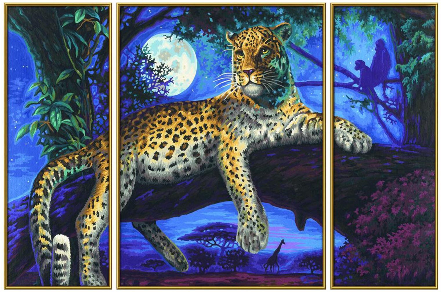 Купить Раскраска по цифрам Триптих: Ягуар в ночи, Schipper