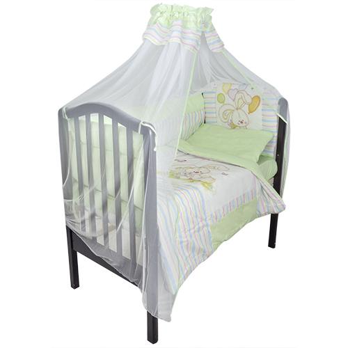 Комплект в кроватку – Радужный, 7 предметов, зеленыйДетское постельное белье<br>Комплект в кроватку – Радужный, 7 предметов, зеленый<br>