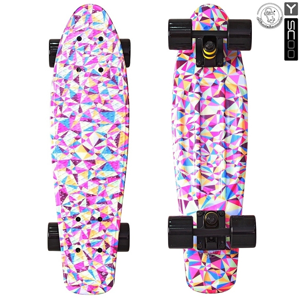 Скейтборд виниловый Y-Scoo Fishskateboard Print 22 401G-R с сумкой, дизайн Розовые ромбыДетские скейтборды<br>Скейтборд виниловый Y-Scoo Fishskateboard Print 22 401G-R с сумкой, дизайн Розовые ромбы<br>
