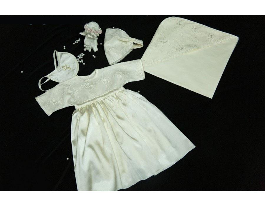 Крестильный набор для девочки – Радость, шампань, 0-6 мес. - Одежда для детей, артикул: 171279