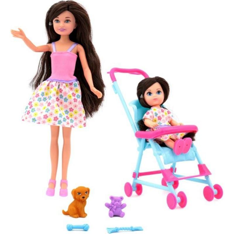 Купить Кукла Мила 23 см с куклой Вики 12 см в коляске и собачкой, Simba