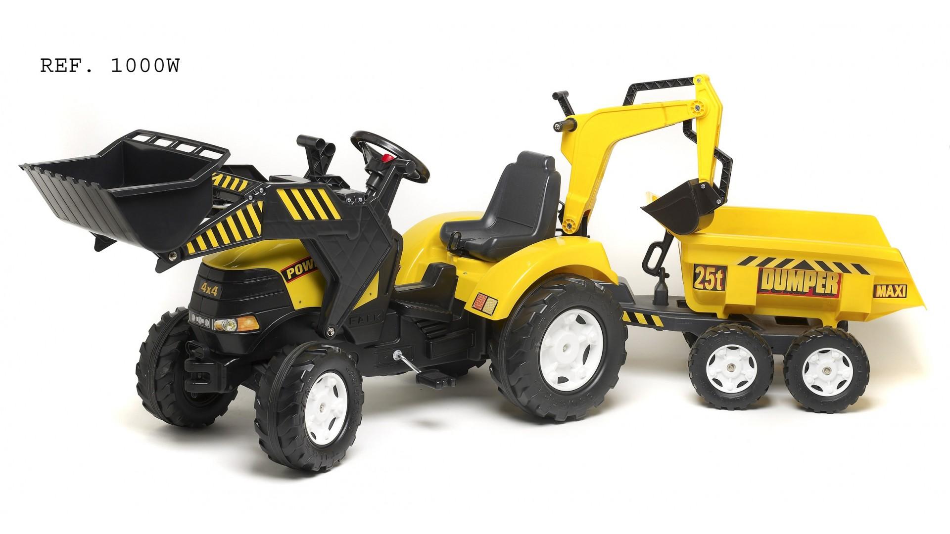 Трактор-экскаватор педальный с прицепом, 225 см.
