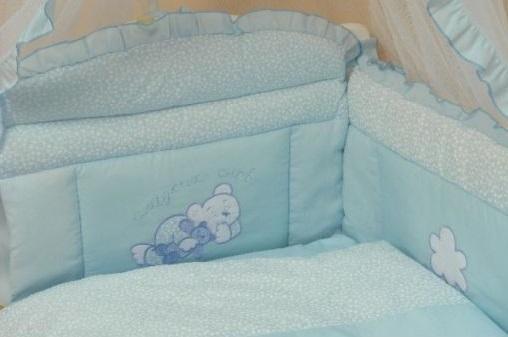 Бампер в кроватку - Светик, голубой