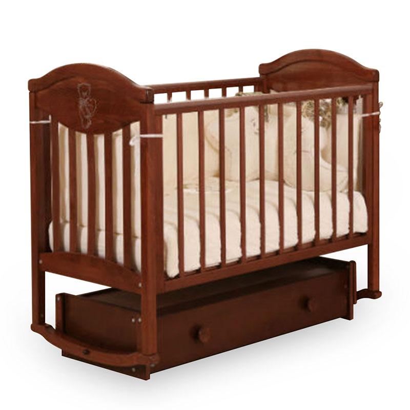 Детская кровать Лель АБ 23.4 Камелия с универсальным маятником, декор №007, темный орех