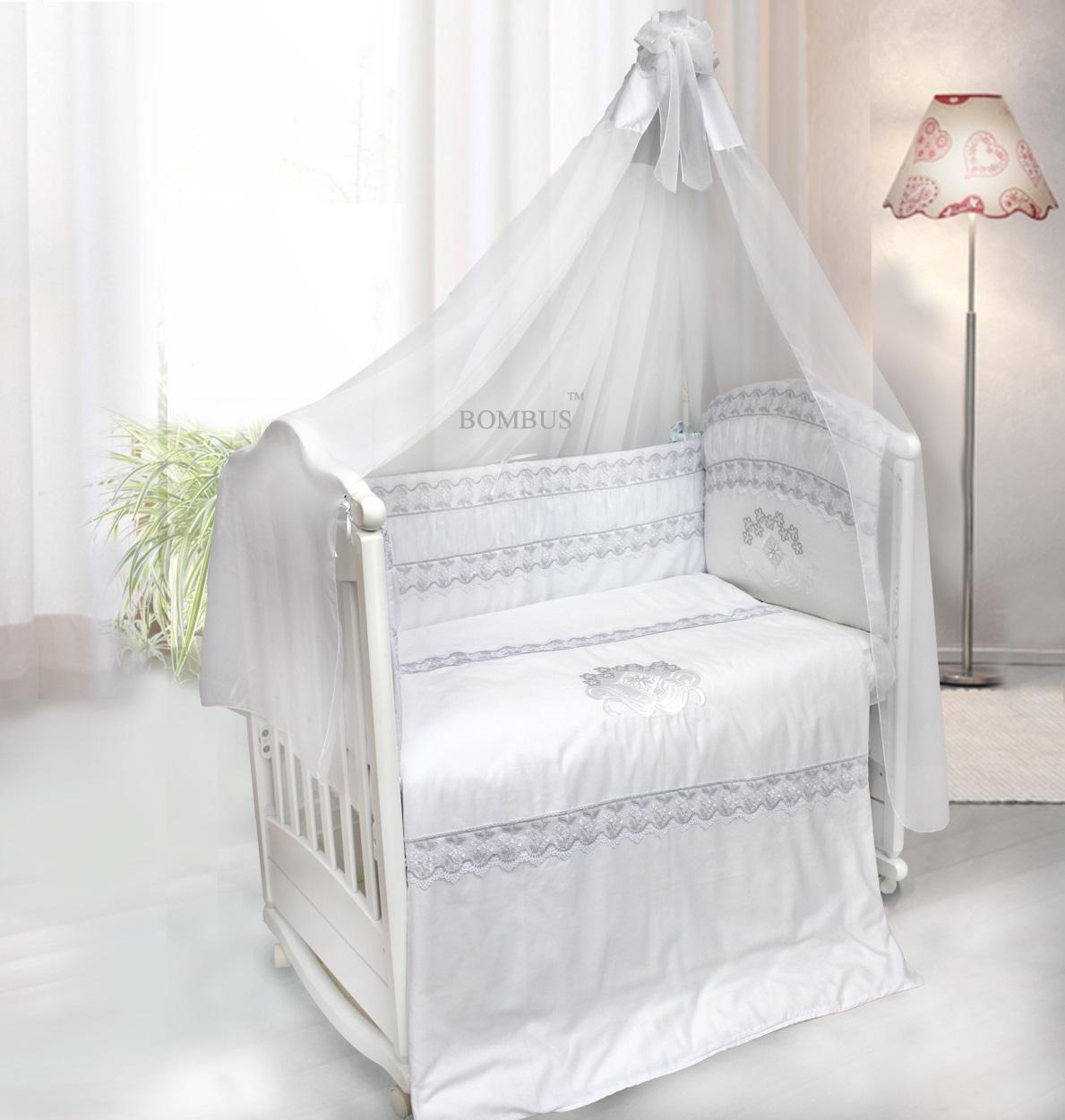Комплект постельных принадлежностей – Инфанта, 7 предметов, цвет - белыйДетское постельное белье<br>Комплект постельных принадлежностей – Инфанта, 7 предметов, цвет - белый<br>