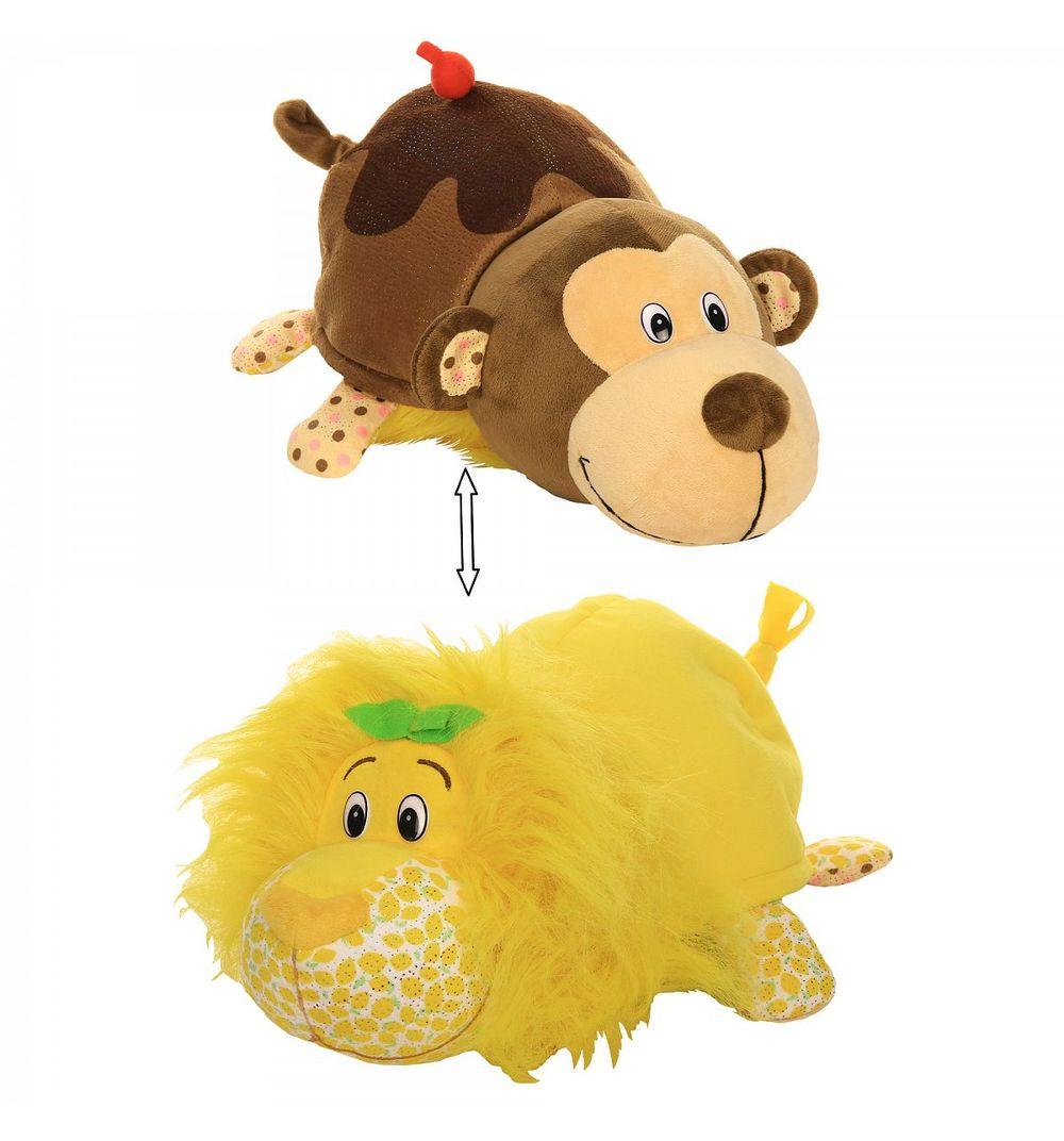 Купить Плюшевая игрушка Вывернушка Ням-Ням 2-в-1 – Лев с ароматом лимона-Мартышка с ароматом шоколадного молочного коктейля, 40 см, 1TOY